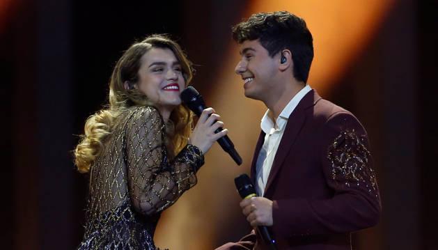 Amaia y Alfred, durante su actuación en la gala final de Eurovisión.