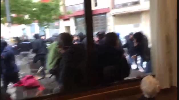 Enfrentamiento entre los ultras de Osasuna y Real Oviedo