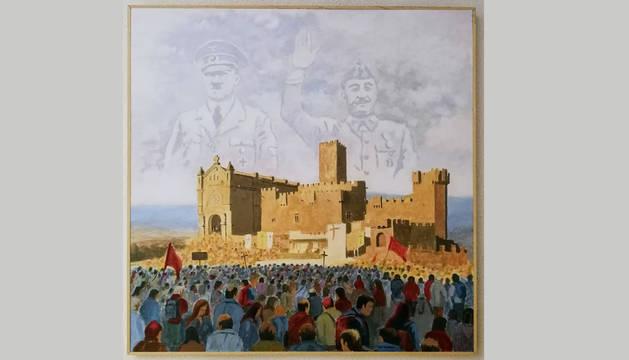 La obra expuesta, en la que se ve a Hitler y Franco tras el Castillo de Javier.