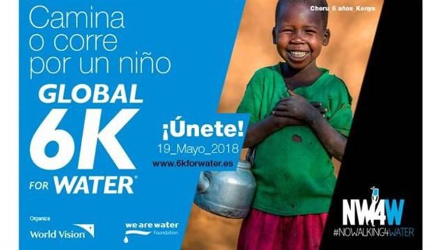 Cartel de la carrera mundial '6Km for water'