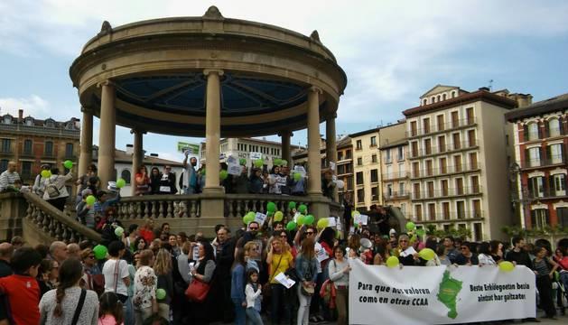 Manifestación de profesores interinos en Navarra