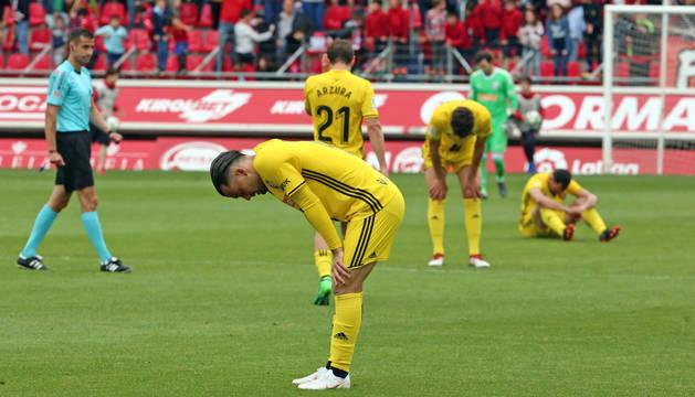 Quique, decepcionado tras el final del partido.