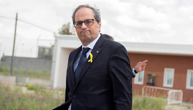 El presidente de la Generalitat, Quim Torra,tras visitar en la prisión de mujeres de Alcalá-Meco a la exconsellera Dolors Bassa y a la expresidenta del Parlament Carme Forcadell.