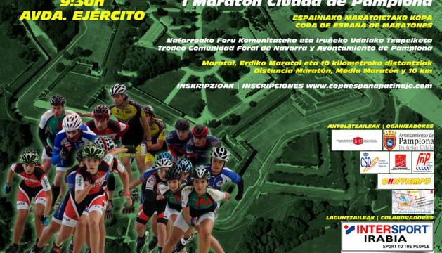 Cartel del I Roller Maratón Ciudad de Pamplona.
