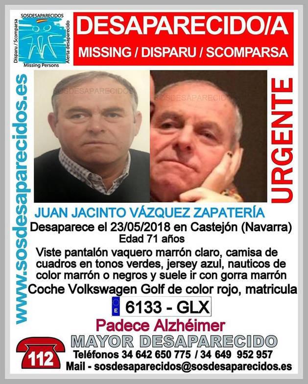Piden ayuda para buscar a un hombre con alzheimer desaparecido en Castejón