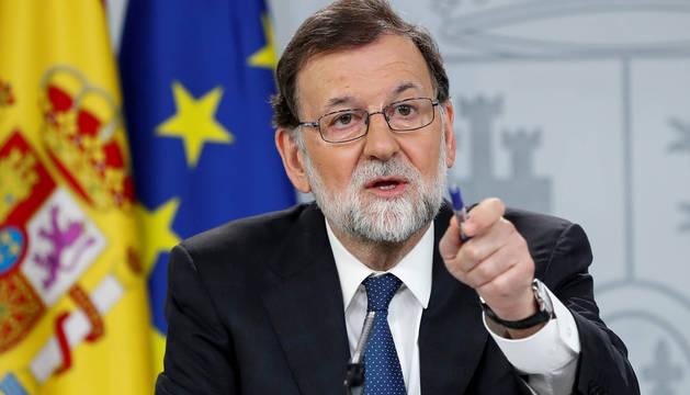 Mariano Rajoy, durante su comparecencia tras registrar el PSOE la moción de censura