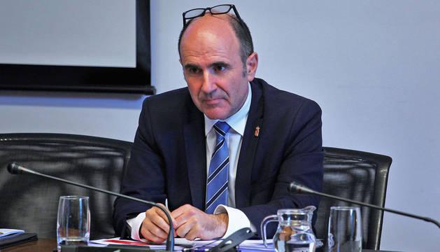 foto de El vicepresidente de Desarrollo Económico del Gobierno de Navarra, Manu Ayerdi, en una comparecencia.