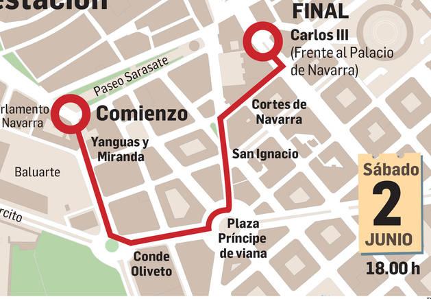 Mapa del recorrido de la manifestación.