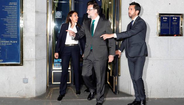 Mariano Rajoy, a su salida del restaurante