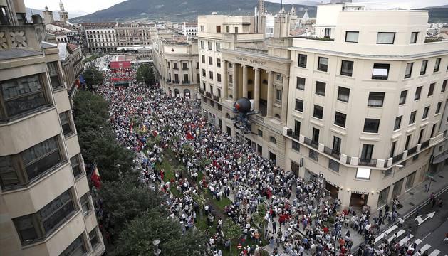 Fotos de la manifestación contra la política lingüística del Gobierno de Navarra celebrada este sábado en Pamplona.