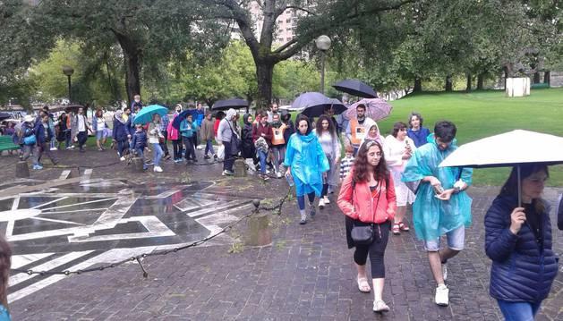 Imagen de una parte de la marcha que ha salido este sábado de Pamplona.