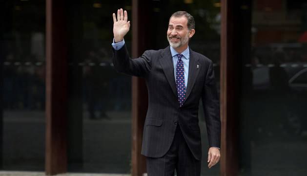 foto de El rey Felipe VI en la entrada al Auditorio Baluarte de Pamplona.