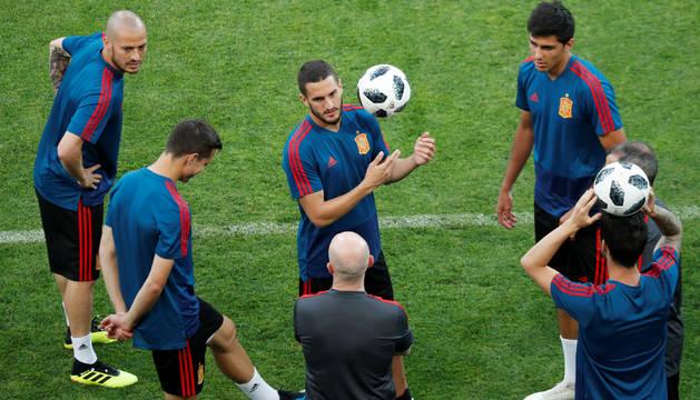 Jugadores de la selección en un entrenamiento