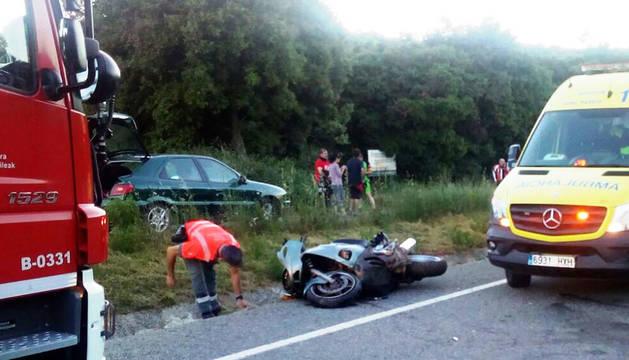 Herido grave un motorista en un accidente en Acedo