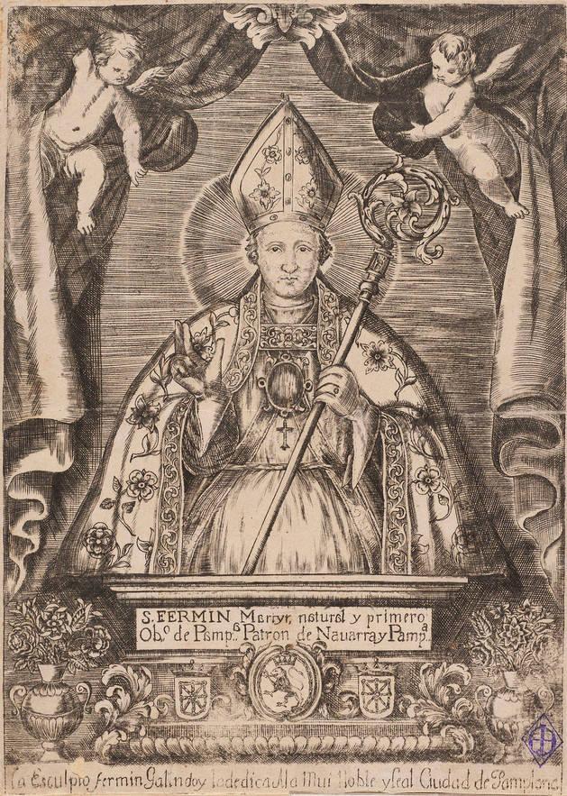 Grabado de San Fermín por el platero Fermín Galindo, fines del siglo XVII. Biblioteca Nacional de Madrid.