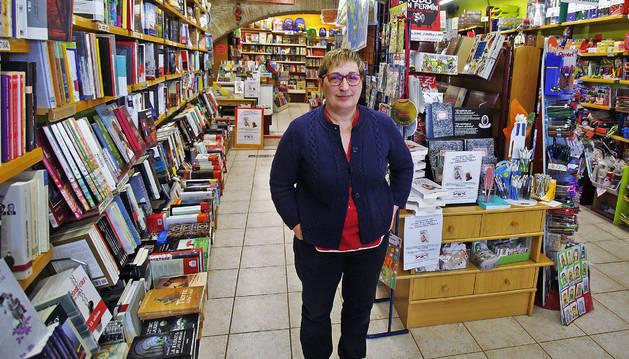 Marcela Abárzuza Fontellas, en su librería Abárzuza