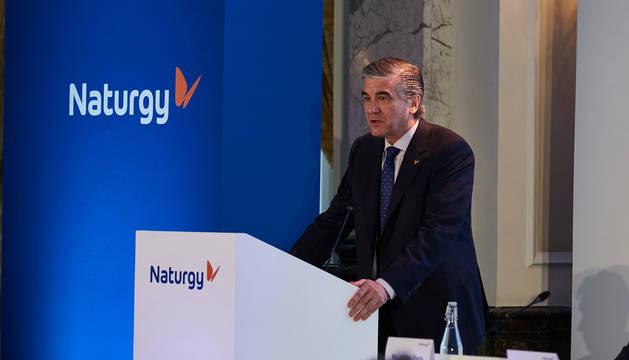El presidente de Naturgy, Francisco Reynés, durante la presentación.