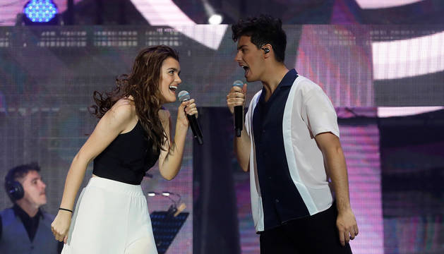 Amaia y Alfred, en el concierto de OT en el Bernabéu