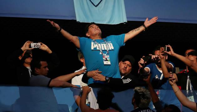 Maradona, durante uno de los partidos de Argentina en el Mundial.