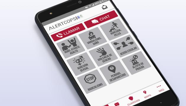 Interfaz de la app Alertcops