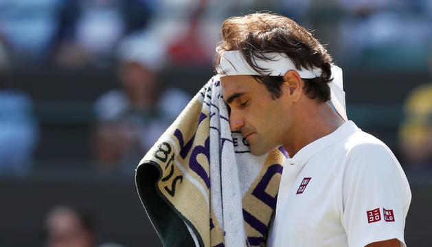 Federer durante su encuentro con Anderson