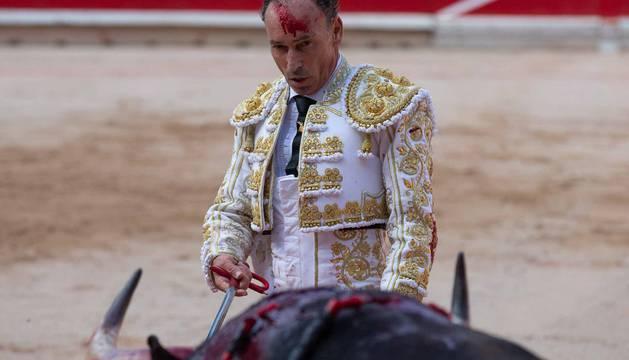 Pepín Liria, en la sexta corrida de toros de San Fermín