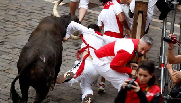 Imágenes del séptimo encierro de los Sanfermines de 2018, con toros de la ganadería Jandilla.