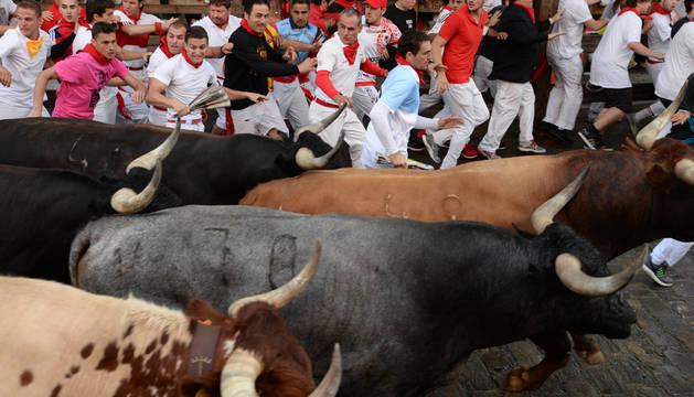 Su primer encierro en Pamplona