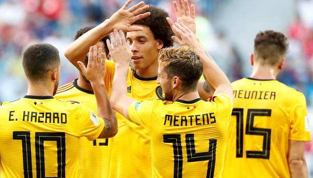 La selección belga celebra el tercer puesto