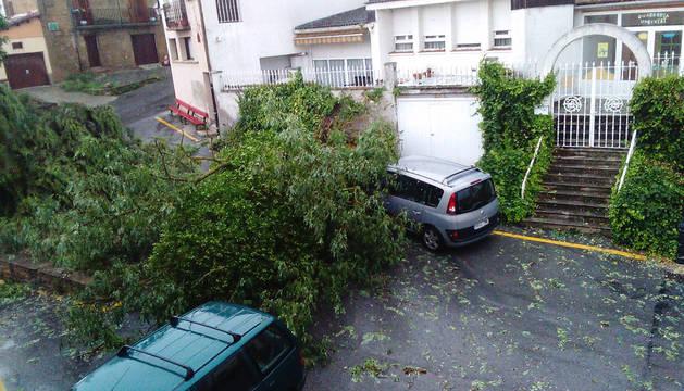 Evaluación de daños y labores de limpieza en Tafalla tras la tormenta de este viernes
