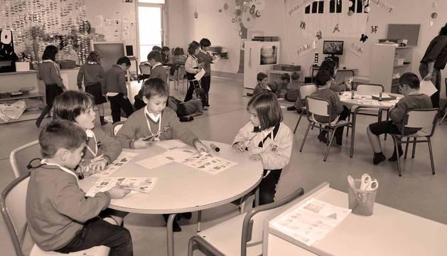 Alumnos de Educación Infantil en el aula de un colegio navarro.