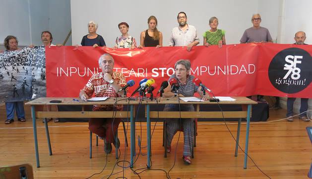 Rueda de prensa del colectivo 'Sanfermines 78 Gogoan!'.