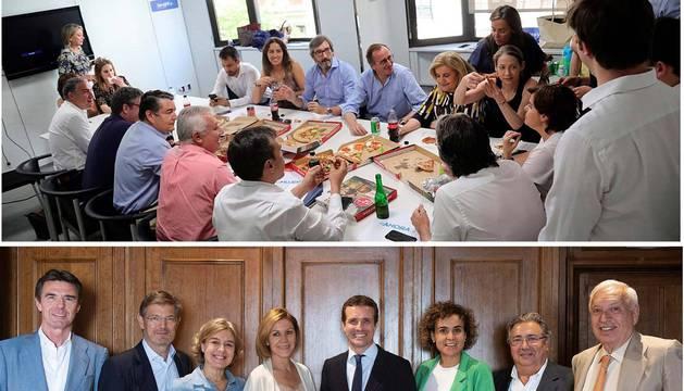 foto de Fotografías de la candidatura de Soraya Sáenz de Santamaría (arriba) y de Pablo Casado (abajo), de las comidas que los candidatos a liderar el PP han celebrado junto a los dirigentes y exdirigentes del partido que avalan cada candidatura.