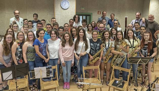 La Unión Musical Estellesa, este viernes por la tarde en su sede del barrio de San Miguel durante el ensayo habitual de los viernes.