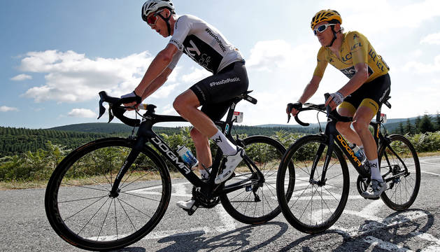 Geraint Thomas y Chris Froome, en una etapa del Tour.