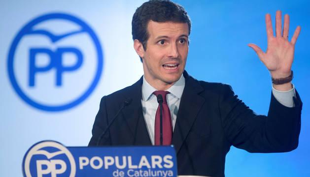 El presidente del PP, Pablo Casado, durante la rueda de prensa