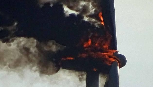 Incendio del aerogenerador del parque eólico de Las Llanas de Aguilar de Codés