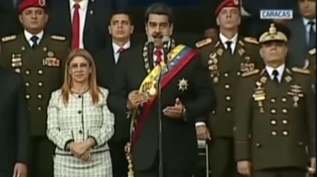 Momento del ataque denunciado por Maduro