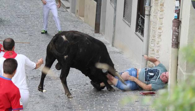 Un novillo ha corneado a un mozo en la 'cuesta de entrañas' de Estella.