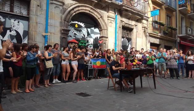 Este martes, en la rueda de prensa, ante el edificio situado en Navarrería