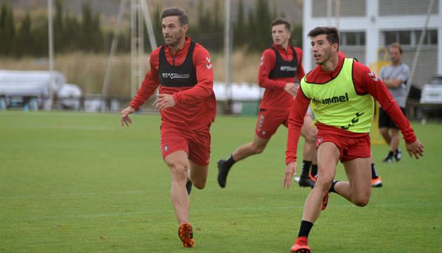 Xisco y David García, que serán titulares hoy en Miranda, en la sesión de este jueves.