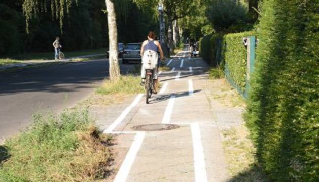 El carril bici está en el barrio berlinés de Zehlendorf.