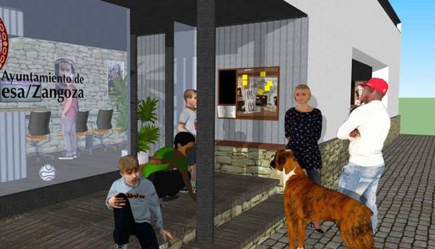 Recreación en tres dimensiones del acceso al futuro local juvenil de Sangüesa según el proyecto redactado por el arquitecto Aser Longás.