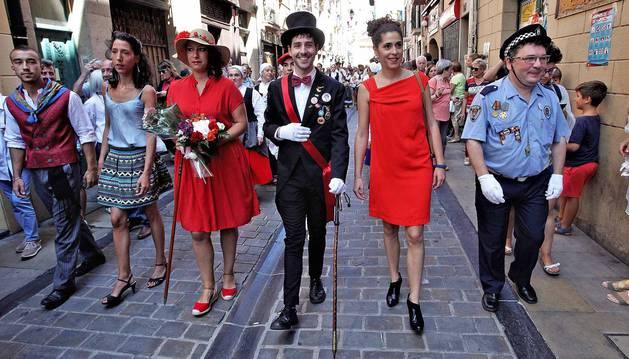 Cohete y fiestas en la calle de San Lorenzo de Pamplona