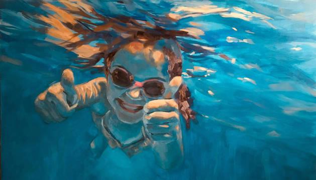 'Verano!', el cuadro con el que Uxua Vides se presentó al certamen. Lo realizó a partir de la foto de una hija.