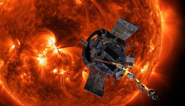 Recreación artística de la sonda solar Parker aproximándose al Sol.