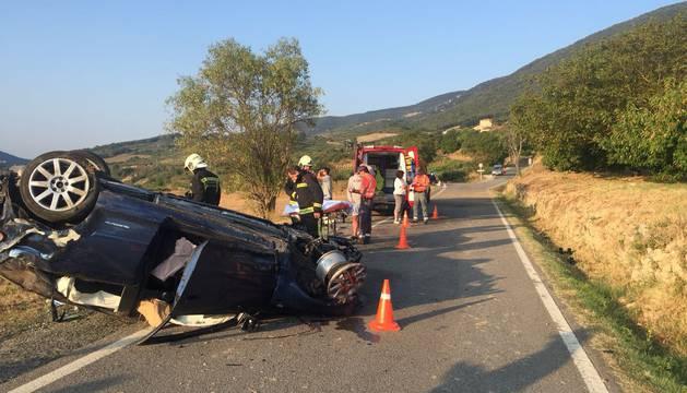 El coche accidentado en Bidaurreta