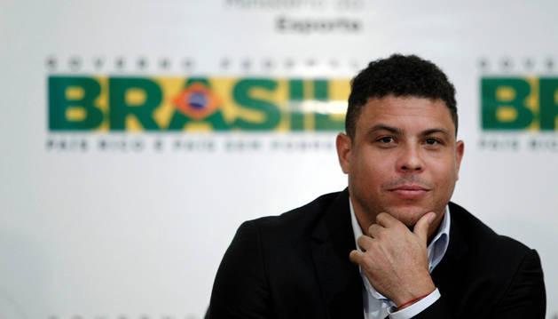 Ronaldo Nazario en una rueda de prensa anterior