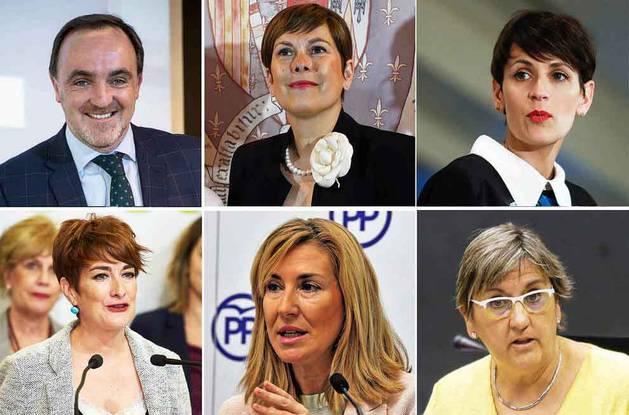 De izquierda a derecha y de arriba a abajo: el candidato de UPN, Javier Esparza; la candidata de Geroa Bai, Uxue Barkos; la del PSN, María Chivite; la de EH Bildu, Bakartxo Ruiz; la del PP, Ana Beltrán; y la de IU, Marisa de Simón.