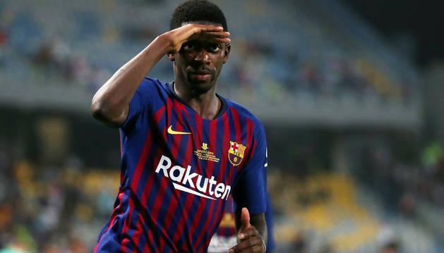 Dembelé celebra el gol que da la Supercopa al Barça